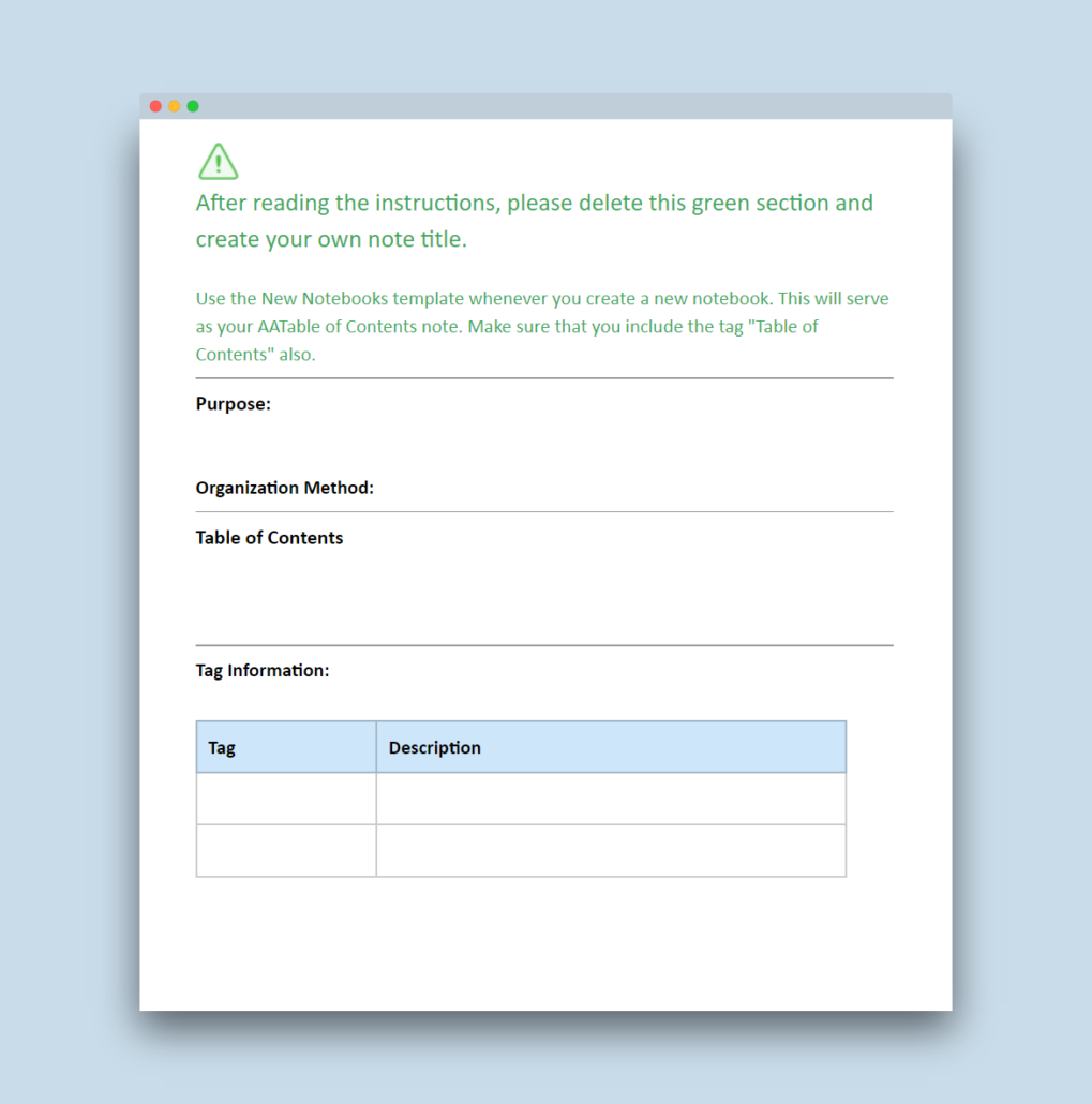 Evernote Table of Contents